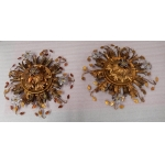 1970′Pair Of Ceiling Lights Or Sconces Decorated With Flowers And Leaves In Golden Metal And Orange Colored Glass Maison Baguès Or Banci