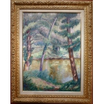 DETROY Léon French School Post-Impressionist painting early 20Th century Crozant School Oil on canvas signed Riverbank View of France