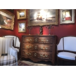 Wedding Chest Of Drawers Regional ( Lyon ) 18th Walnut With Mouldings Opening By Three Drawers