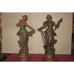 STATUE SPELTER firmate Moreau