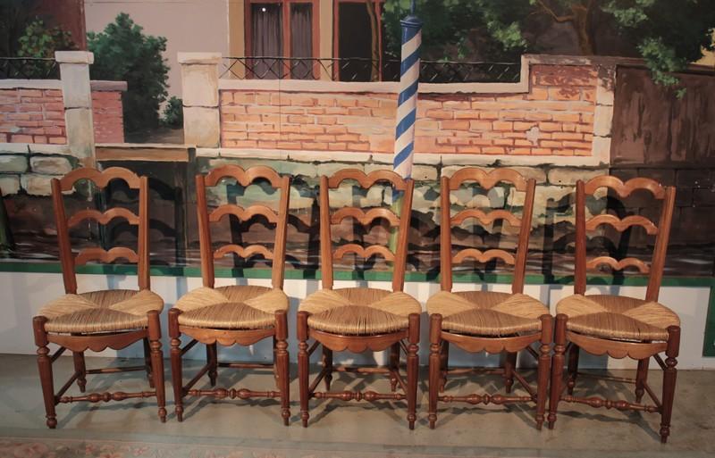Sedie Francesi Provenzali : Suite di cinque sedie provenzali antiquites lecomte