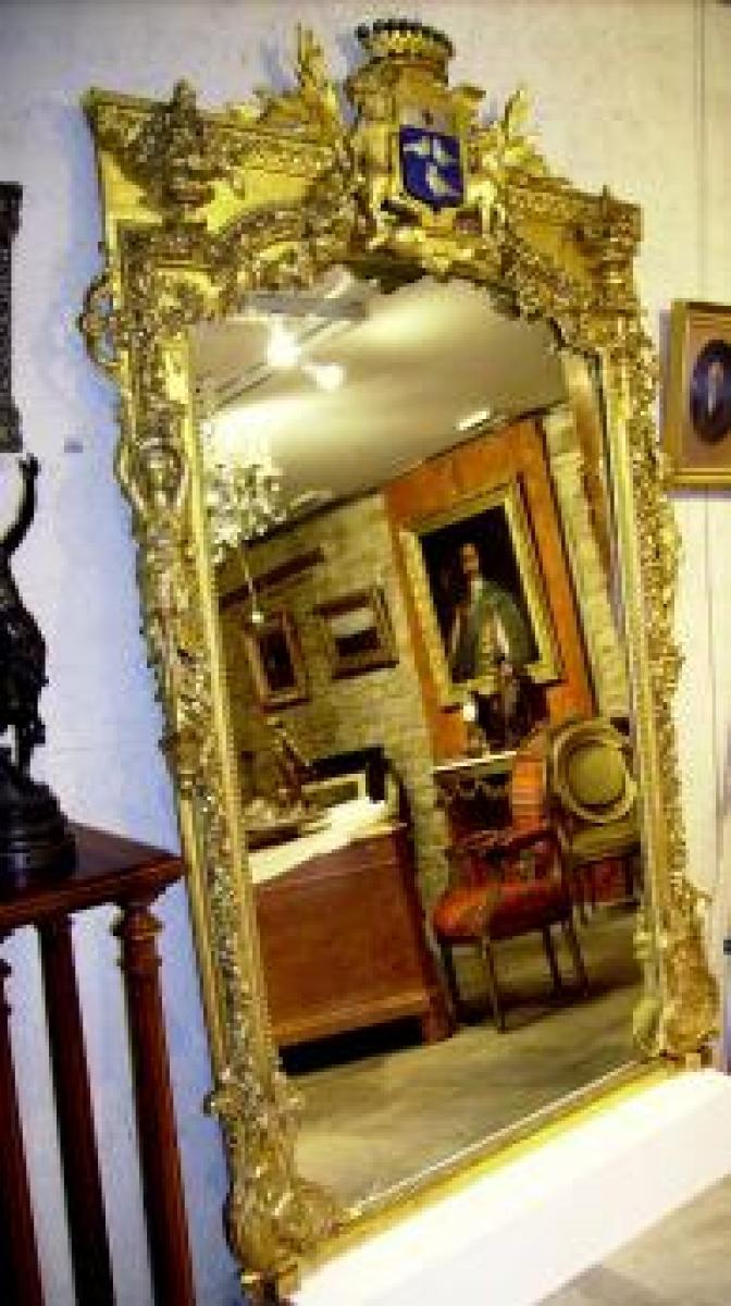 Specchio spettacolare con uno scudo 19 c galerie for Specchio 1900