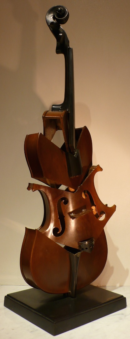 ARMAN Bronze sculpture 20Th century signed Violin cut II Tribute to Picasso Modern Art