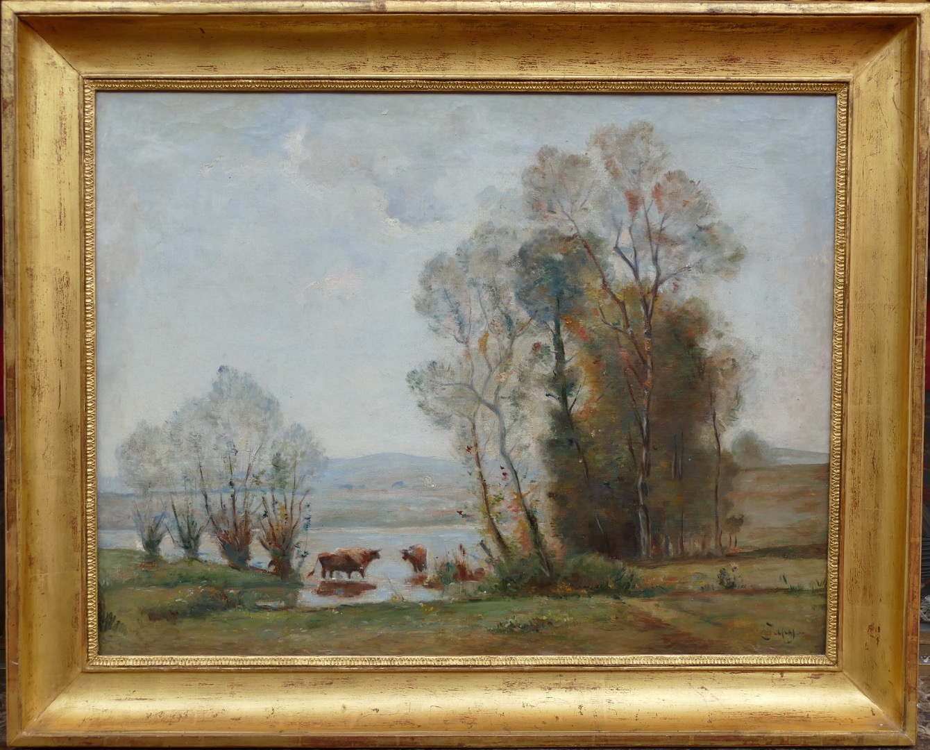 JAPY louis Aime ancient painting XIXth century Barbizon school oil on canvas signed the herd in the clearing
