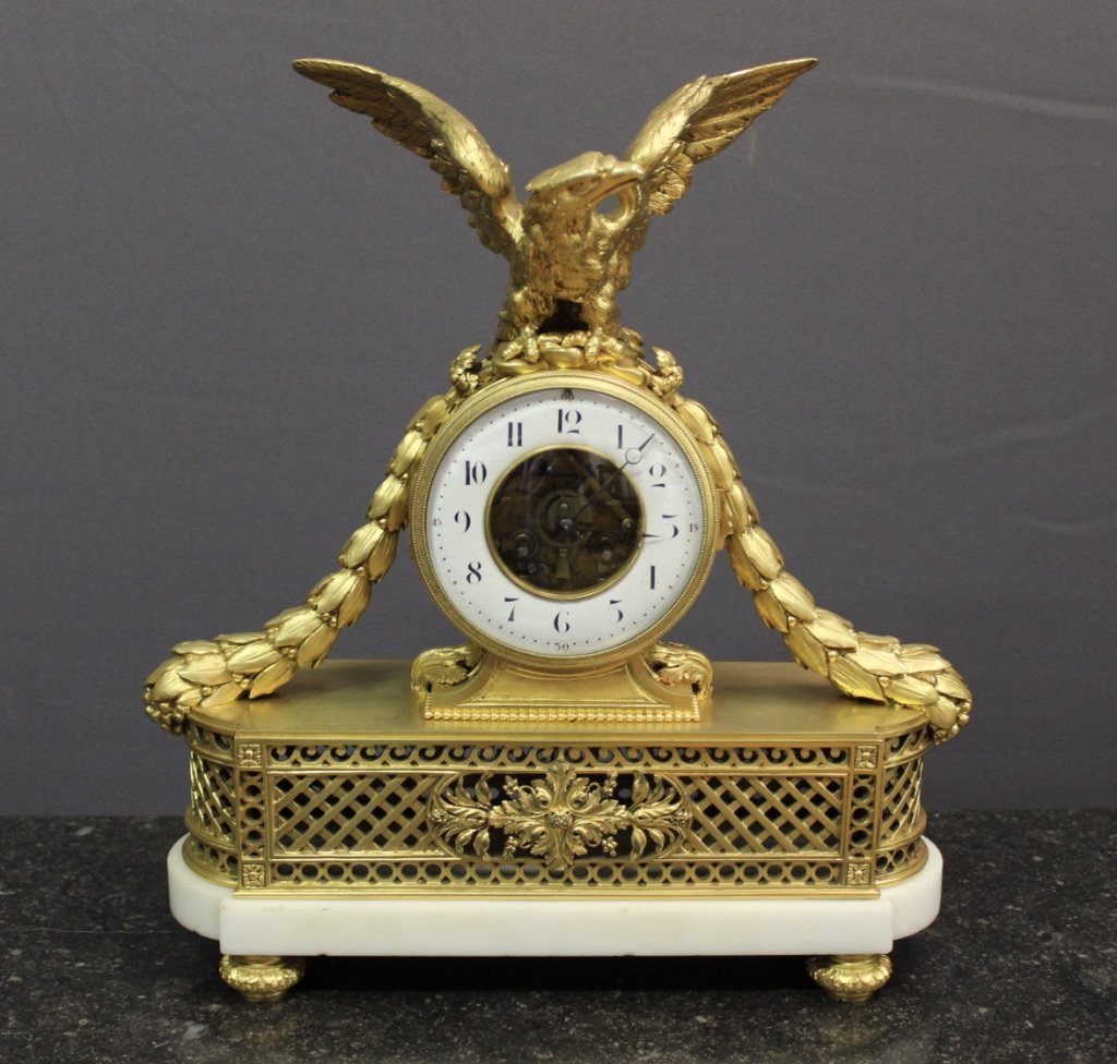 Louis XVI Style Skeleton Clock In Gilt Bronze XIX