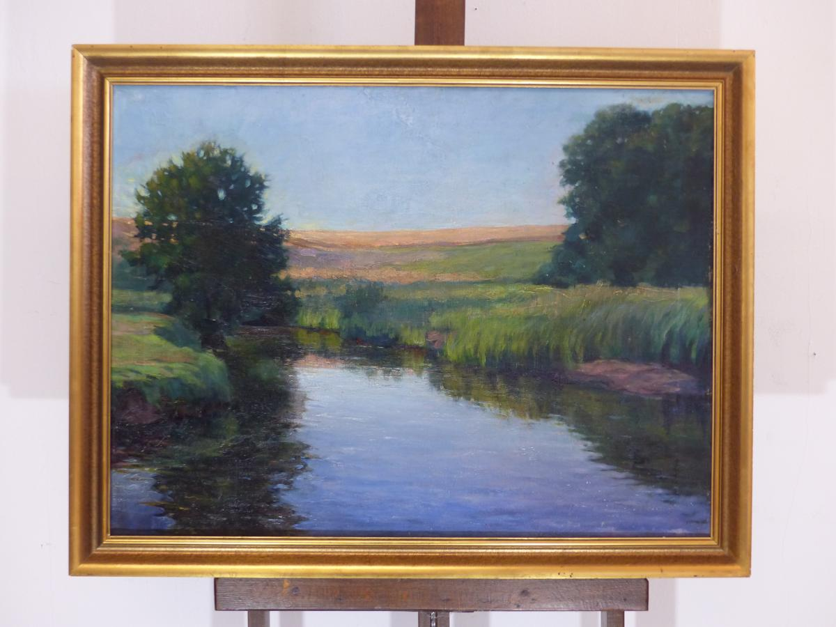 Large painting hst Impressionist France early twentieth oil painting on caneva