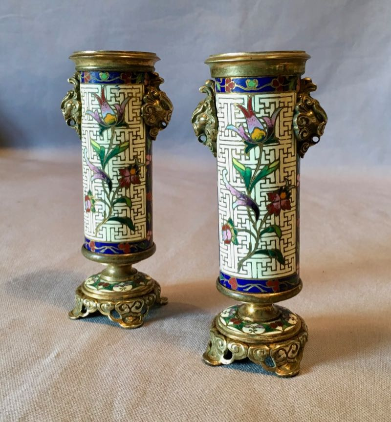 PAIR OF SMALL CLOISONNE VASES