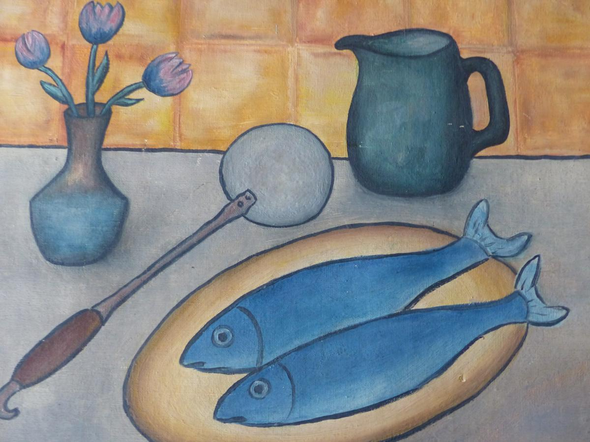 Oil / Canvas Table Sign Andre Goetz Date 1958 Still Life Blue Fish