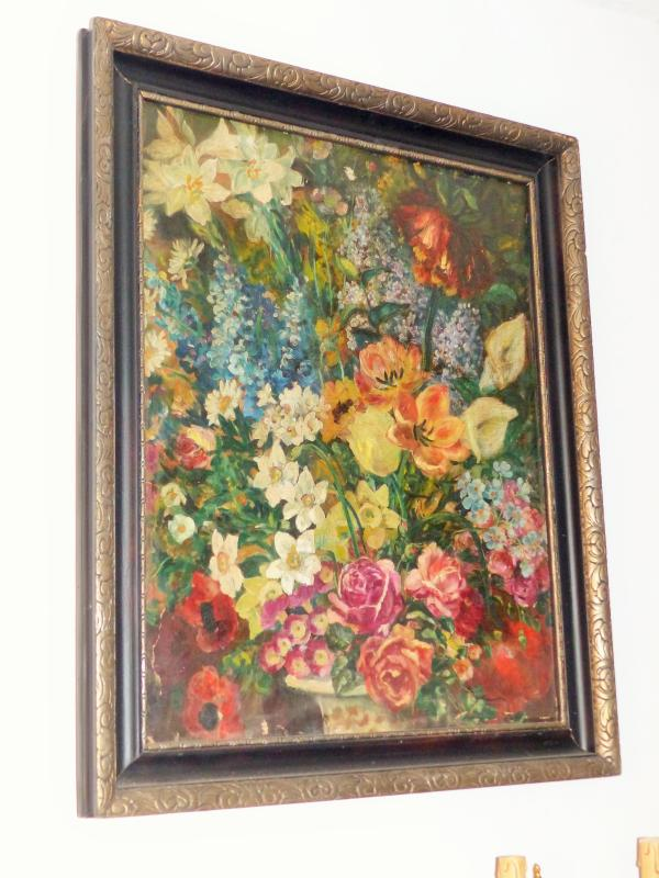 Large Oil On Canvas XIX / XX Eme Bouquets Of Flowers View Of Bumblebee