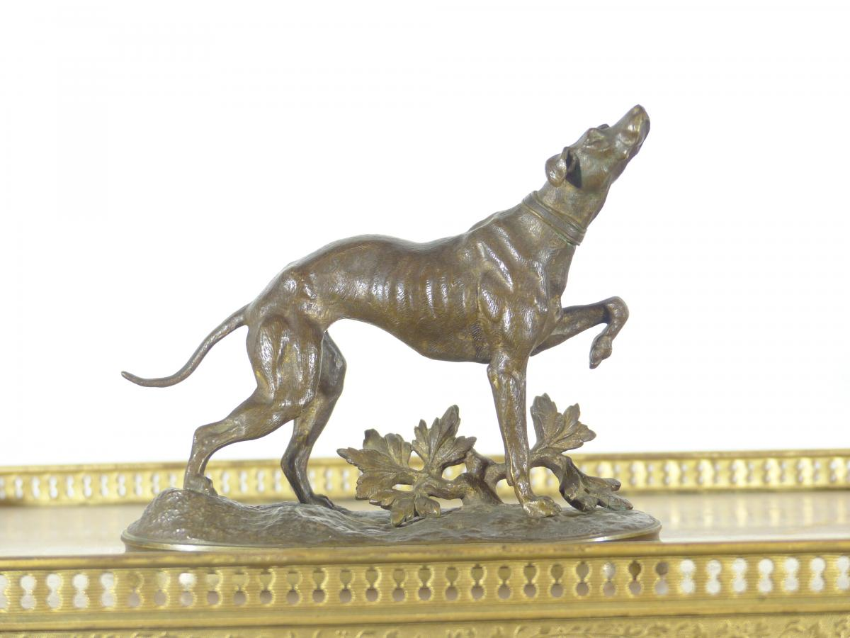 Rare Bronze Animal Hunting Dog sign Prosper Lecourtier XIXth
