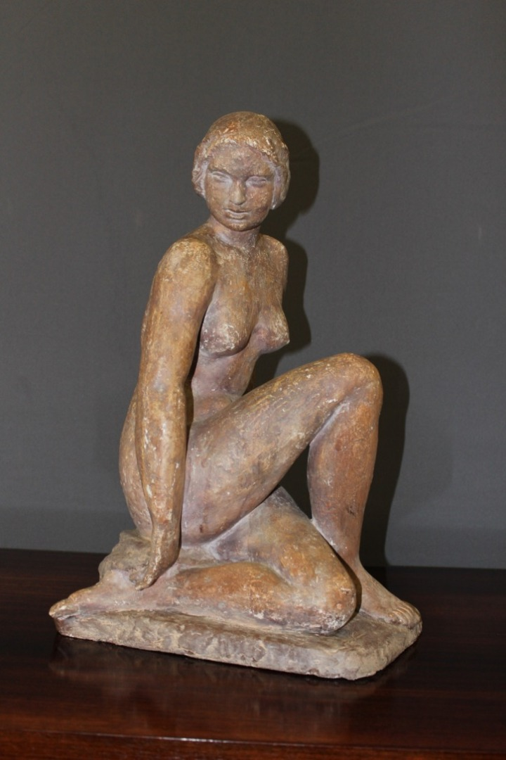 Plaster Sculpture Representing A Naked Art Deco Woman