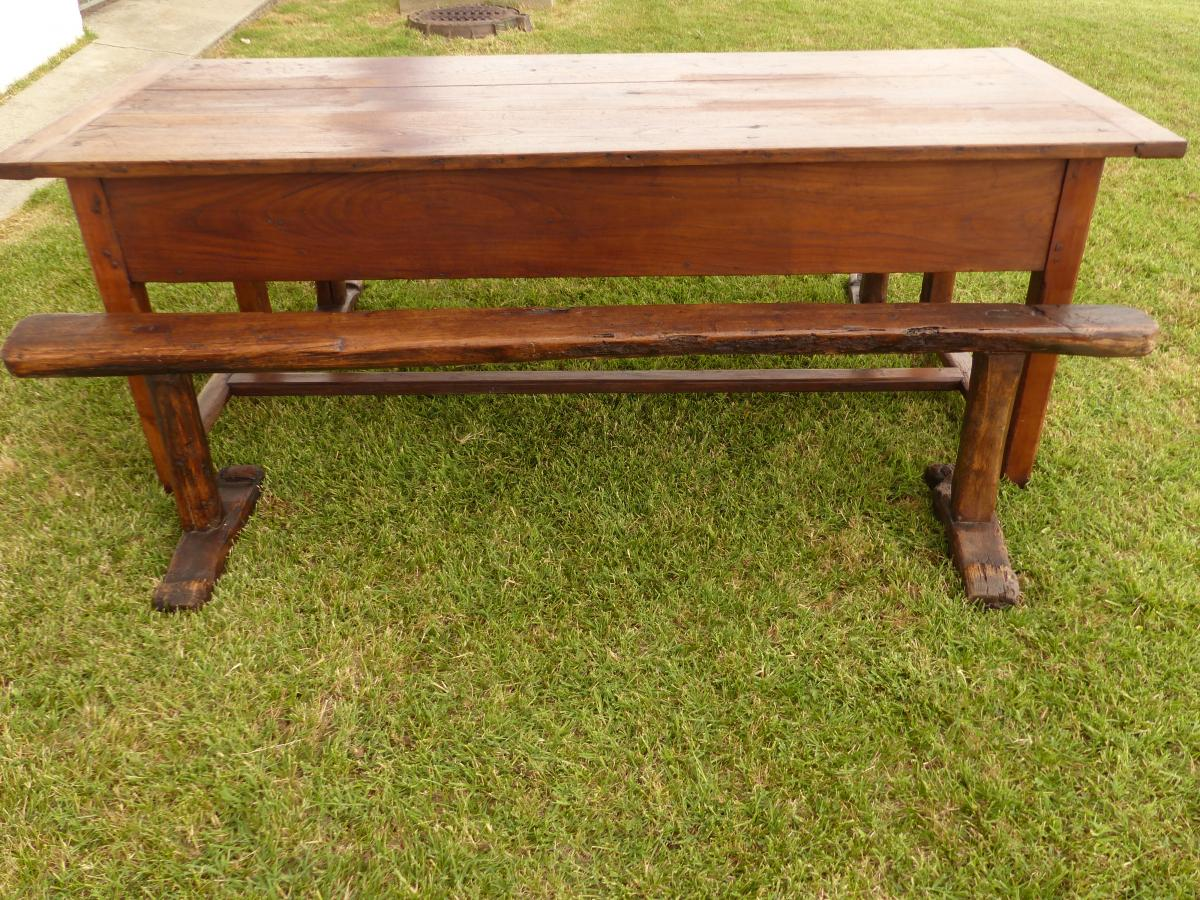 Farm table / community cherry and oak 200 cms and benches xvii th