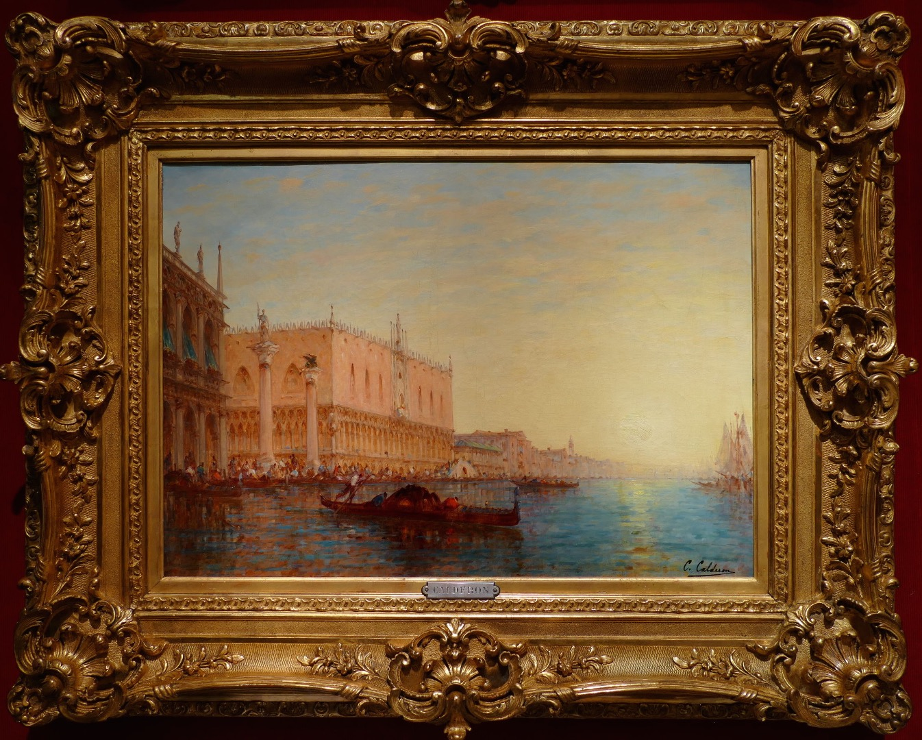 Calderon Charles Clément French School 19th Venice Saint Marc Basin Sunny Oil on canvas Signed