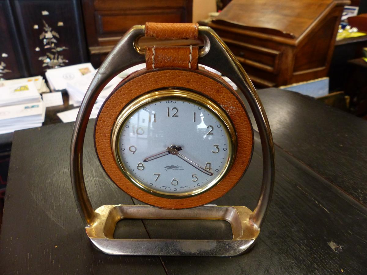 pendulum table clock circa 50s Longchamp et Adnet saddle leather horse stirrup