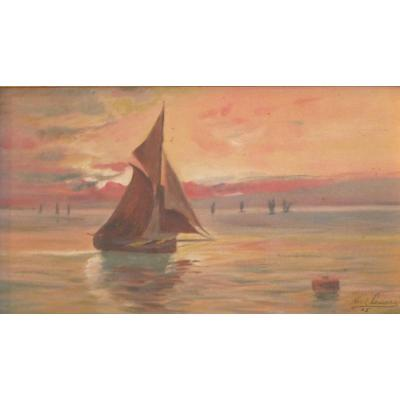 Table Marine Circa 1905 Sign Oil On Canvas Hst Debut XX Eme School Of Pont Aven Brittany HST table marine landscape boats fishing sailboats port Brittany XXth century