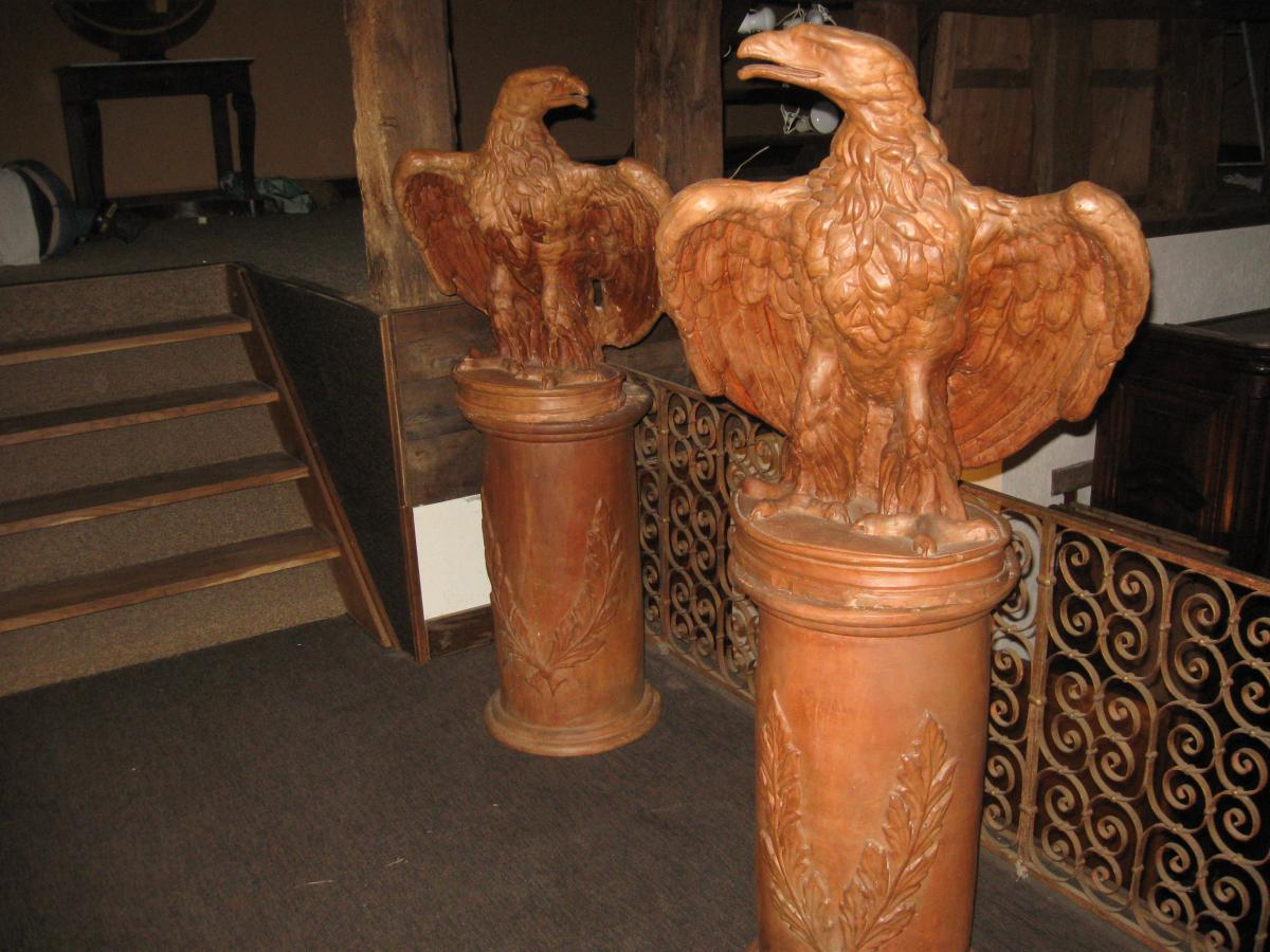 Napoleon Empire large pair of eagles Terracotta On Base Circa XIXth Epoque XIXth