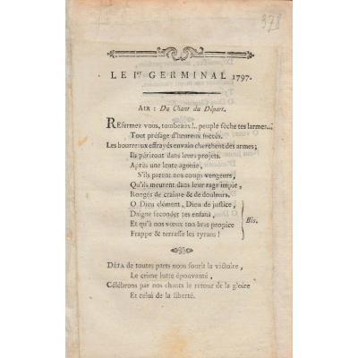 Le 1 Er Germinal 1797 Rare Revolutionary Song D Period Late XVIII Eme French Revolution napoleon napoleon empire war pontoon consulate directory