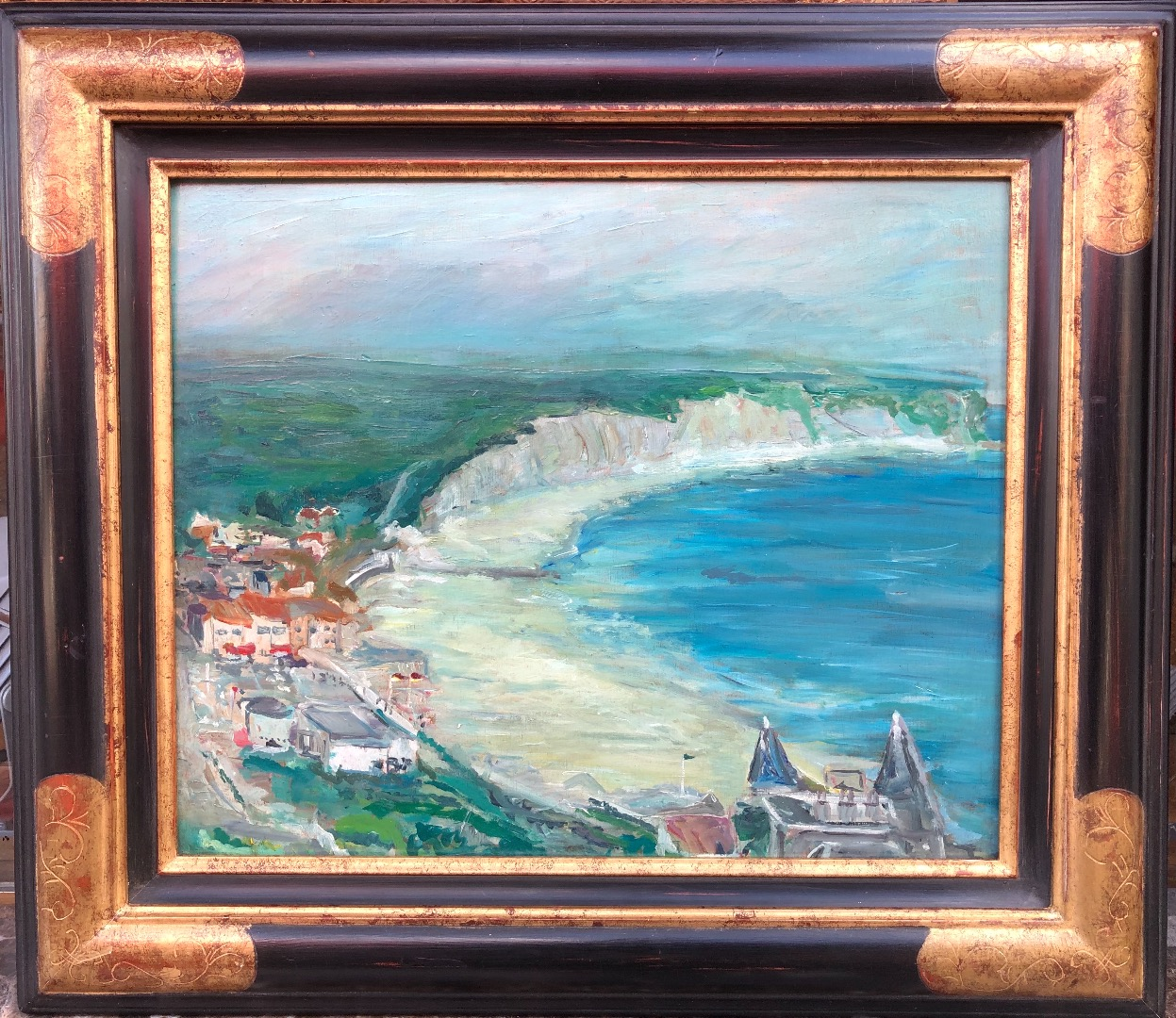Maurice LOUVRIER Rouen School Cliffs on the Normandy Coast Oil on panel signed