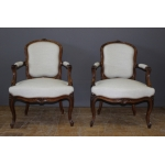 Pair Of Louis XV Armchairs In Rosewood XIX