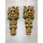 Rare Pair Of Gargoyles Baroque Period XVII Eme Carved Wood Sculpture high time