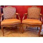 Pair of natural wooden armchairs XVIIITh century signed Jean Avisse Regency period
