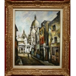 DUMONT Pierre Painting 20Th century Paris Montmartre Sacre Coeur seen from the street of the Chevalier de la Barre Painting Oil on canvas signed