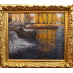 JUSTE René Crozant school The dam in the Creuse Oil on canvas signed