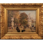 Georges BINET Paris the Tuileries Garden Oil on panel signed