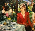 COSSON Marcel Painting early 20Th century At the restaurant Painting Oil on panel signed